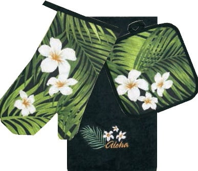 3 Piece Kitchen Towel Set - Plumeria Palm